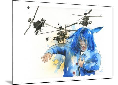Girl and Helicopters-Lora Zombie-Mounted Art Print