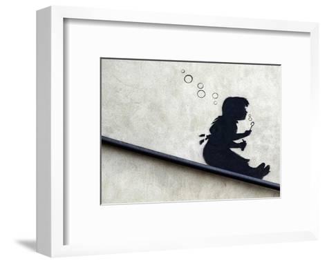 Bubble Girl-Banksy-Framed Art Print