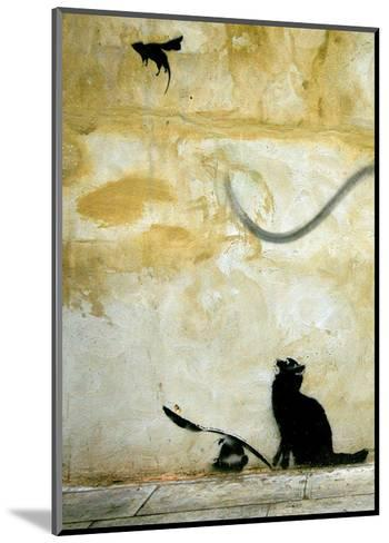 Cat-Banksy-Mounted Art Print