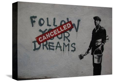 Follow your dreams-Banksy-Stretched Canvas Print