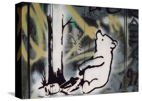 Pooh bear-trap-Banksy-Stretched Canvas Print