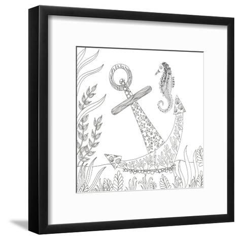 Anchored Seahorse-Pam Varacek-Framed Art Print