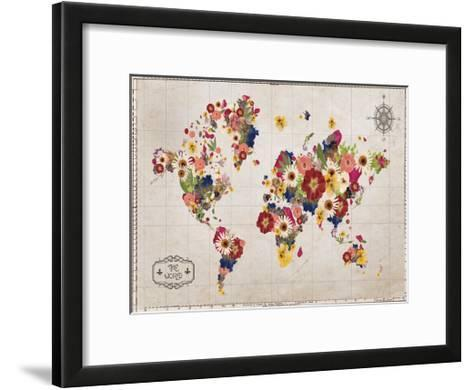 Floral Map-Victoria Brown-Framed Art Print