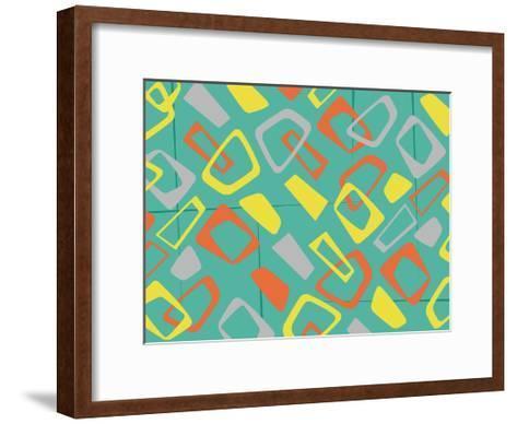 Retro Blocks Mate-Jace Grey-Framed Art Print
