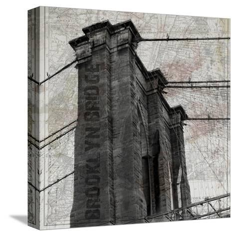 Vintage Brooklyn Bridge-Sheldon Lewis-Stretched Canvas Print