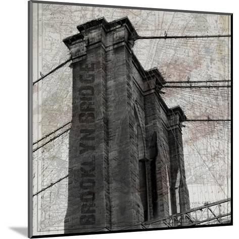 Vintage Brooklyn Bridge-Sheldon Lewis-Mounted Art Print