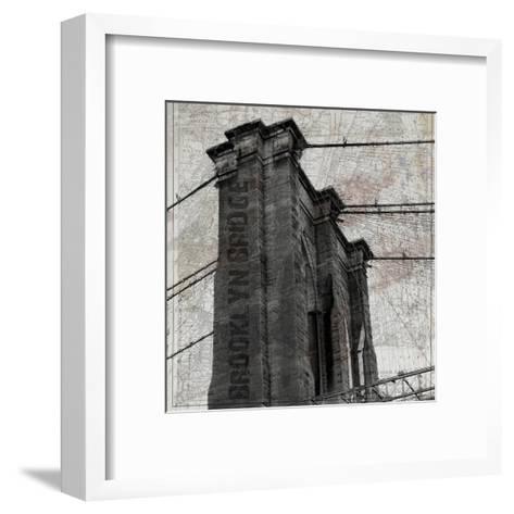 Vintage Brooklyn Bridge-Sheldon Lewis-Framed Art Print