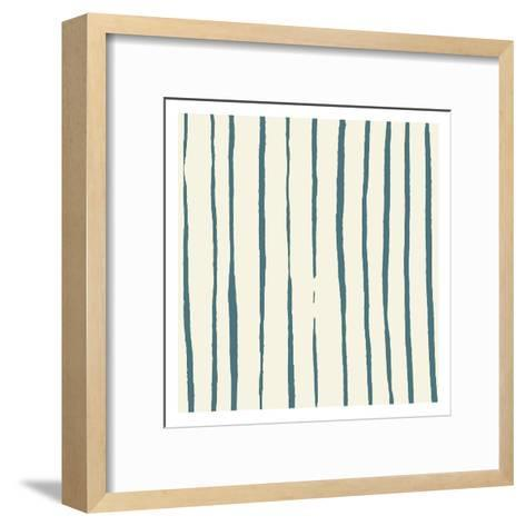 Lined Pattern Reverse-Jace Grey-Framed Art Print