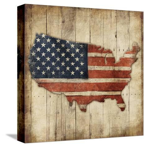 Wooden US Map-Jace Grey-Stretched Canvas Print