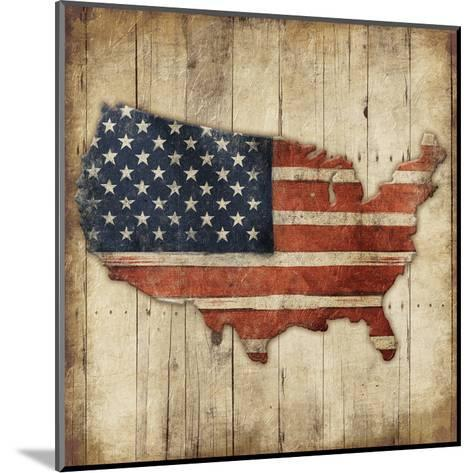 Wooden US Map-Jace Grey-Mounted Art Print