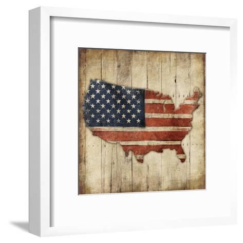 Wooden US Map-Jace Grey-Framed Art Print