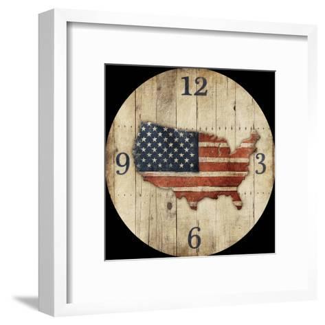 Wooden US Map Clock-Jace Grey-Framed Art Print