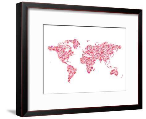 World Map 2-Peach & Gold-Framed Art Print