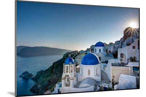 Beautiful blue domes of Santorini, Greece-Nick Jackson-Mounted Art Print