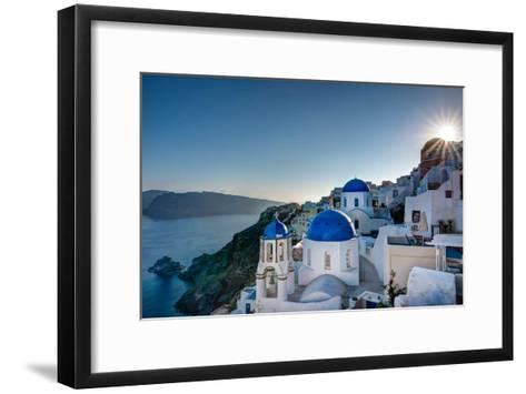 Beautiful blue domes of Santorini, Greece-Nick Jackson-Framed Art Print