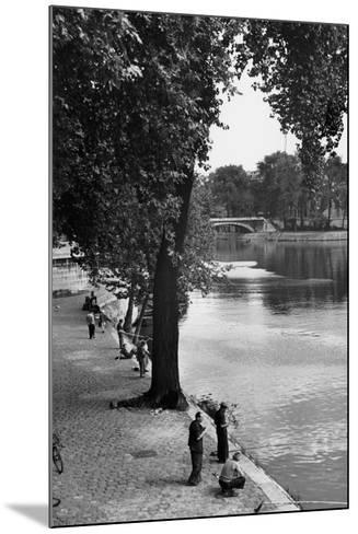 Men Fishing along the Seine-Jules Dortes-Mounted Giclee Print
