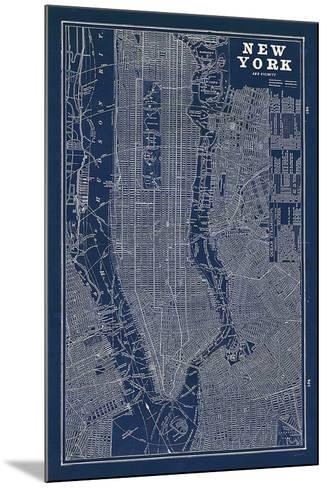 Blueprint Map New York-Sue Schlabach-Mounted Art Print