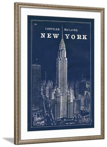 Blueprint Map New York Chrysler Building-Sue Schlabach-Framed Art Print
