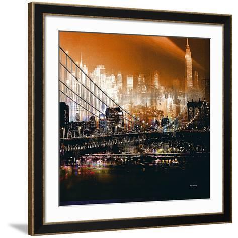 Brooklyn Bridge by Night- Mereditt.f-Framed Art Print