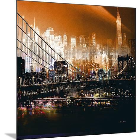 Brooklyn Bridge by Night- Mereditt.f-Mounted Art Print