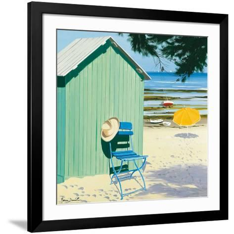Green Beach Hut-Henri Deuil-Framed Art Print