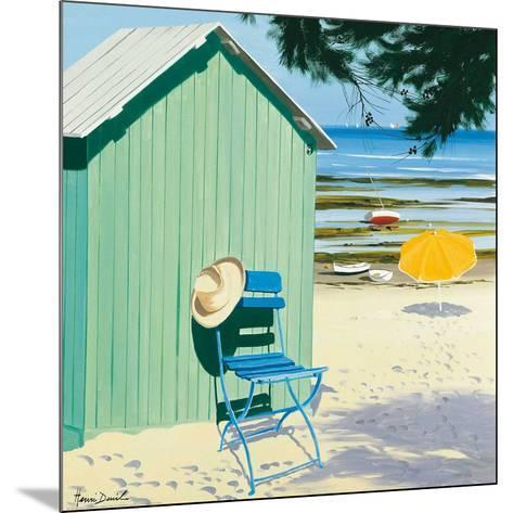 Green Beach Hut-Henri Deuil-Mounted Art Print