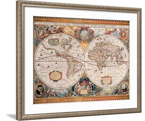 Orbis Geographica (Ac Hydrographica)-Jan Jansson-Framed Art Print