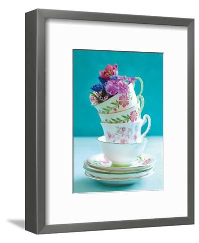 Pretty Cups and Flowers-Shooter & Floodgate-Framed Art Print