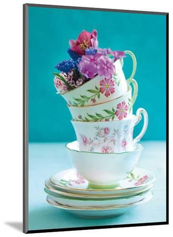 Pretty Cups and Flowers-Shooter & Floodgate-Mounted Art Print
