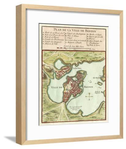 Petite Map of the City of Boston--Framed Art Print
