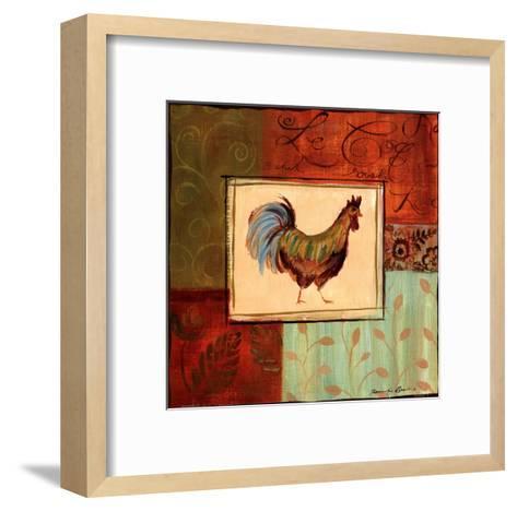 Patchwork Rooster IV-Jennifer Sosik-Framed Art Print