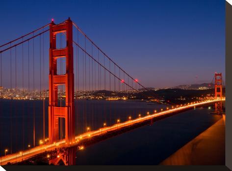 Golden Gate Bridge In The Evening-Melanie Viola-Stretched Canvas Print