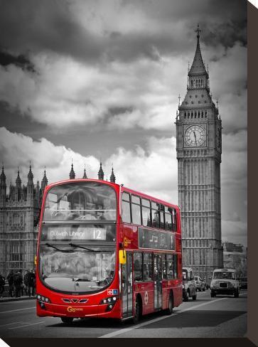 London Westminster Bridge Traffic-Melanie Viola-Stretched Canvas Print