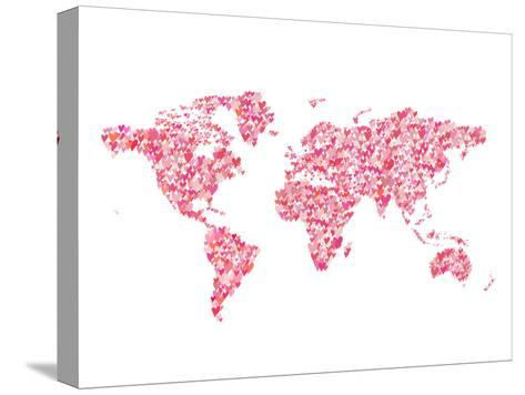World Map 2-Peach & Gold-Stretched Canvas Print