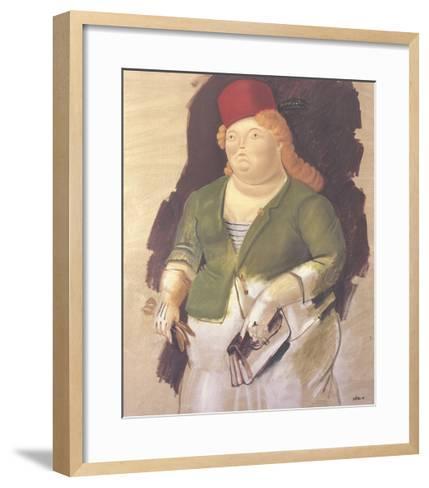 Mujer con Sombrero Rojo-Fernando Botero-Framed Art Print