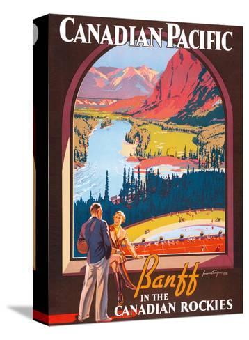 Banff in the Canadian Rockies - Lake Louise, Banff National Park - Canadian Pacific Railway Company-James Crockart-Stretched Canvas Print