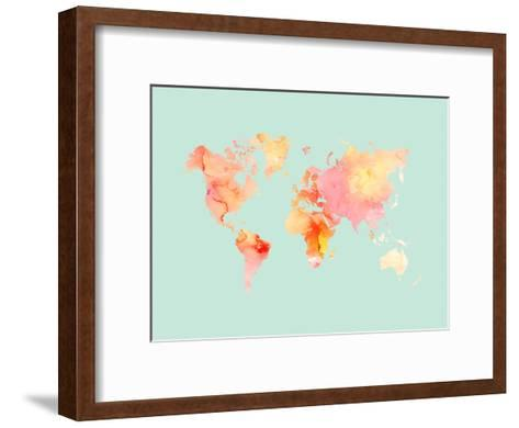 World Map-Pastel Watercolor-Amy Brinkman-Framed Art Print