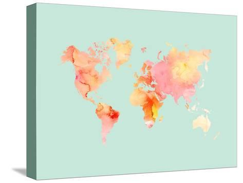World Map-Pastel Watercolor-Amy Brinkman-Stretched Canvas Print