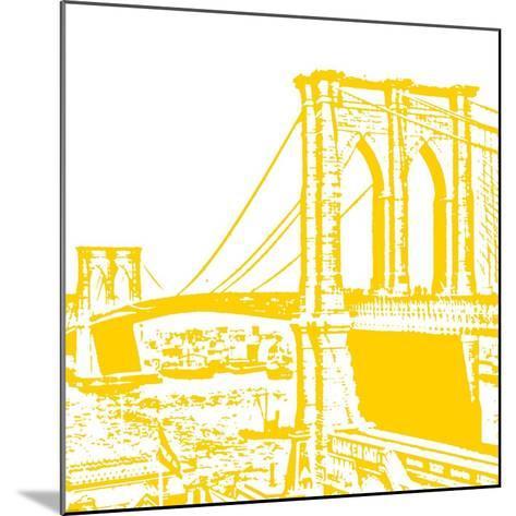 Yellow Brooklyn Bridge-Veruca Salt-Mounted Art Print