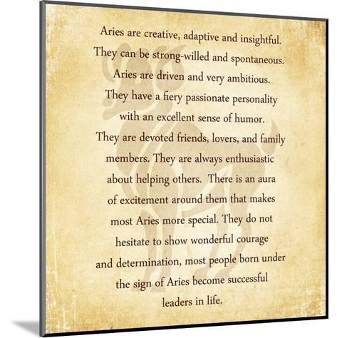 Aries Character Traits-Veruca Salt-Mounted Art Print