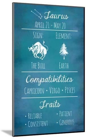 Taurus Zodiac Sign-Veruca Salt-Mounted Art Print