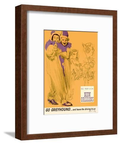 New Orleans - Mardi Gras - Greyhound Bus Lines-George Roth-Framed Art Print