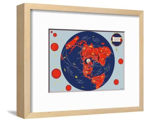 Map of the World - Our New Neighbors - Global Air Routes - Western Air Lines-Sally De Long-Framed Art Print
