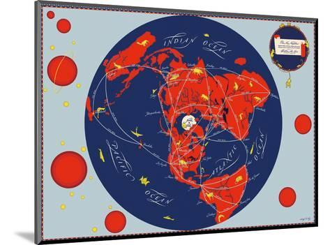 Map of the World - Our New Neighbors - Global Air Routes - Western Air Lines-Sally De Long-Mounted Art Print