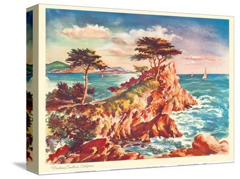 Monterey Coastline, California - United Air Lines Calendar Page-Joseph Feh?r-Stretched Canvas Print