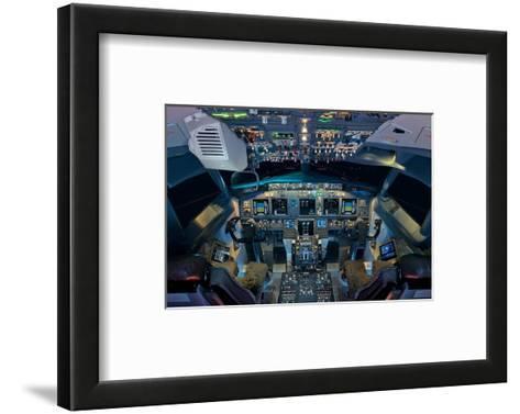 737 Next Generation flight deck--Framed Art Print