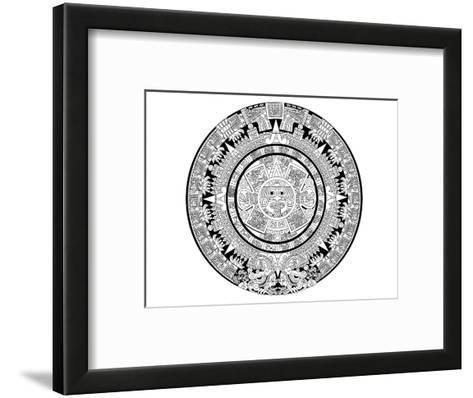 Aztec Calendar Coloring Art--Framed Art Print