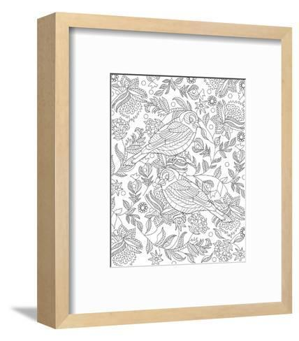 Two Partridges In A Tree Design Coloring Art--Framed Art Print