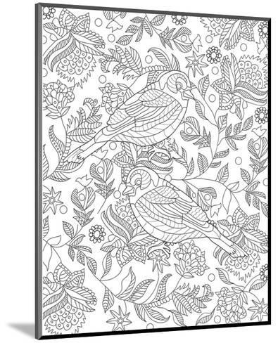 Two Partridges In A Tree Design Coloring Art--Mounted Coloring Poster