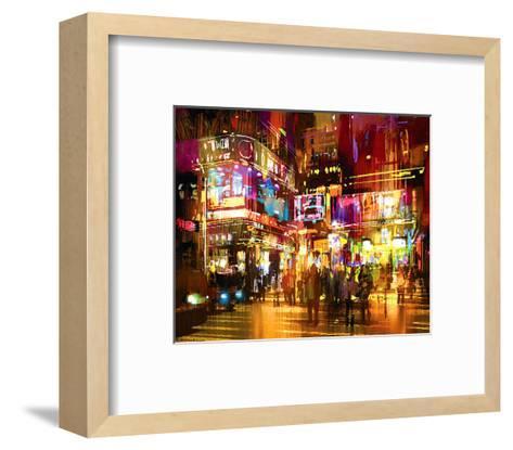 The Hustle Nightscape--Framed Art Print